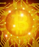 Bitcoin mit goldener digitaler Illustration des Stromkreises Stockfotos