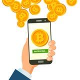 Bitcoin mobile che riceve vettore di concetto Finanza moderna economica Finanza senza fili di Bitcoin che riceve concetto Mano Fotografia Stock