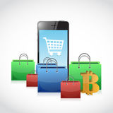 Bitcoin and mobile phone shopping concept Royalty Free Stock Photo