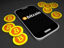Bitcoin-Mobilegeldbörse Stockfotos