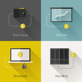 Bitcoin modern flat design elements. Vector illustration Royalty Free Stock Photo