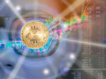 Bitcoin in modern technology about electronic money. On digital stock background Stock Image