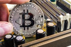 Bitcoin is a modern way of exchange and this crypto currency. Is a convenient means of payment in the financial stock photo