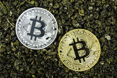 Bitcoin is a modern way of exchange and this crypto currency is a convenient means of payment in the financial and web markets Stock Images