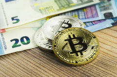 Bitcoin is a modern way of exchange and this crypto currency is a convenient means of payment in the financial and web markets. Bitcoin is a modern way of Royalty Free Stock Image