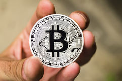 Bitcoin is a modern way of exchange and this crypto currency is a convenient means of payment in the financial and web Royalty Free Stock Photography