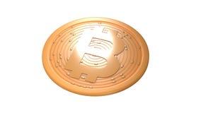 Bitcoin Moeda de Digitas Cryptocurrency Moeda dourada com símbolo do bitcoin isolada no fundo branco ilustração 3D Fotos de Stock