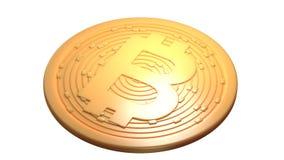Bitcoin Moeda de Digitas Cryptocurrency Moeda dourada com símbolo do bitcoin isolada no fundo branco ilustração 3D Fotografia de Stock Royalty Free