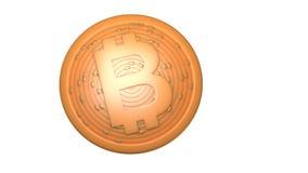 Bitcoin Moeda de Digitas Cryptocurrency Moeda dourada com símbolo do bitcoin isolada no fundo branco ilustração 3D Imagem de Stock