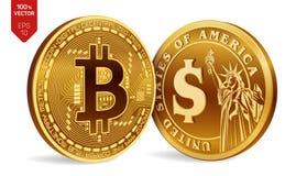Bitcoin Moeda do dólar moedas 3D físicas isométricas Moeda de Digitas Cryptocurrency Moedas douradas com bitcoin e Imagens de Stock Royalty Free