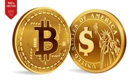 Bitcoin Moeda do dólar moedas 3D físicas isométricas Moeda de Digitas Cryptocurrency Moedas douradas com símbolo de Bitcoin e de  Imagem de Stock Royalty Free