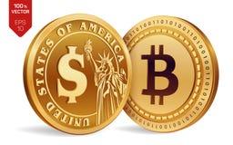 Bitcoin Moeda do dólar moedas 3D físicas isométricas Moeda de Digitas Cryptocurrency Moedas douradas com símbolo de Bitcoin e de  Imagem de Stock