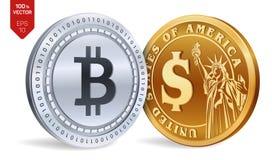 Bitcoin Moeda do dólar moedas 3D físicas isométricas Moeda de Digitas Cryptocurrency Moedas douradas e de prata com Bitcoin e bon Fotos de Stock Royalty Free