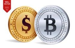 Bitcoin Moeda do dólar moedas 3D físicas isométricas Moeda de Digitas Cryptocurrency Moedas douradas e de prata com Bitcoin e bon Foto de Stock Royalty Free