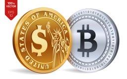 Bitcoin Moeda do dólar moedas 3D físicas isométricas Moeda de Digitas Cryptocurrency Moedas douradas e de prata com Bitcoin e bon Fotografia de Stock