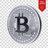 Bitcoin moeda física isométrica do bocado 3D Cryptocurrency Moeda de prata com símbolo do bitcoin no fundo transparente Imagens de Stock
