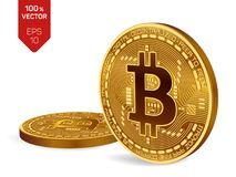 Bitcoin moeda física isométrica do bocado 3D Cryptocurrency Duas moedas douradas com símbolo do bitcoin isoladas no fundo branco Fotografia de Stock Royalty Free