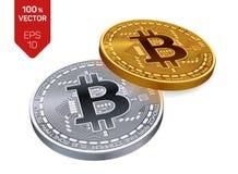Bitcoin moeda física isométrica do bocado 3D Cryptocurrency Moedas douradas e de prata com símbolo do bitcoin isoladas no fundo b Imagens de Stock
