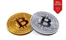 Bitcoin moeda física isométrica do bocado 3D Cryptocurrency Moedas douradas e de prata com símbolo do bitcoin isoladas no fundo b Imagens de Stock Royalty Free