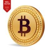 Bitcoin moeda física isométrica do bocado 3D Moeda de Digitas Cryptocurrency Moeda dourada com símbolo do bitcoin isolada no back Foto de Stock Royalty Free