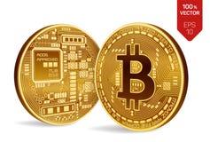 Bitcoin moeda física isométrica do bocado 3D Moeda de Digitas Cryptocurrency Duas moedas douradas com símbolo do bitcoin Foto de Stock Royalty Free