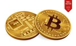 Bitcoin moeda física isométrica do bocado 3D Moeda de Digitas Cryptocurrency Duas moedas douradas com símbolo do bitcoin Fotos de Stock Royalty Free