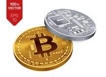 Bitcoin moeda física isométrica do bocado 3D Moeda de Digitas Cryptocurrency Moedas douradas e de prata com bitcoin Foto de Stock