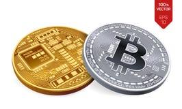 Bitcoin moeda física isométrica do bocado 3D Moeda de Digitas Cryptocurrency Moedas douradas e de prata com bitcoin Fotos de Stock Royalty Free