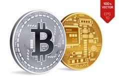 Bitcoin moeda física isométrica do bocado 3D Moeda de Digitas Cryptocurrency Moedas douradas e de prata com símbolo do bitcoin Imagens de Stock Royalty Free