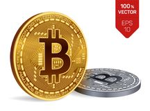 Bitcoin moeda física isométrica do bocado 3D Moeda de Digitas Cryptocurrency Moedas douradas e de prata com símbolo do bitcoin is Imagem de Stock Royalty Free