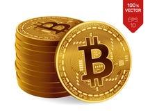 Bitcoin moeda física isométrica do bocado 3D Moeda de Digitas Cryptocurrency Pilha de moedas douradas com símbolo do bitcoin Imagens de Stock