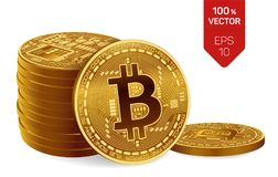 Bitcoin moeda física isométrica do bocado 3D Moeda de Digitas Cryptocurrency Três moedas douradas do bitcoin Fotos de Stock