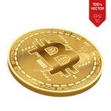 Bitcoin moeda física isométrica do bocado 3D Moeda de Digitas Bitcoin dourado isolado no fundo branco Ilustração conservada em es Imagem de Stock