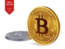 Bitcoin moeda física isométrica do bocado 3D Moedas douradas e de prata com símbolo do bitcoin isoladas no fundo branco Fotos de Stock