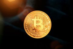 Bitcoin - moneda BTC del pedazo la nueva moneda crypto imagen de archivo libre de regalías