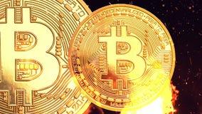 Bitcoin - moneda BTC del pedazo la nueva moneda crypto almacen de video