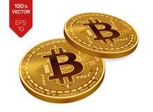 Bitcoin moneda física isométrica del pedazo 3D Cryptocurrency Dos monedas de oro con símbolo del bitcoin aisladas en el fondo bla Fotos de archivo