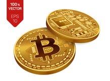 Bitcoin moneda física isométrica del pedazo 3D Moneda de Digitaces Cryptocurrency Dos monedas de oro con símbolo del bitcoin Imagen de archivo libre de regalías