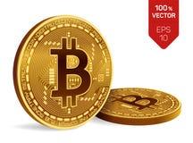 Bitcoin moneda física isométrica del pedazo 3D Moneda de Digitaces Cryptocurrency Dos monedas de oro con símbolo del bitcoin aisl Imagen de archivo