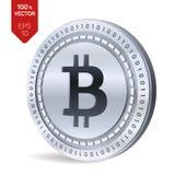 Bitcoin moneda física isométrica del pedazo 3D Moneda de Digitaces Cryptocurrency Moneda de plata con símbolo del bitcoin aislada stock de ilustración