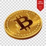 Bitcoin moneta fisica isometrica del pezzo 3D Cryptocurrency Fotografia Stock Libera da Diritti