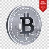Bitcoin moneta fisica isometrica del pezzo 3D Cryptocurrency Moneta d'argento con il simbolo del bitcoin isolata su fondo traspar Immagini Stock