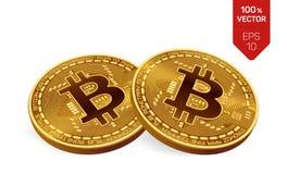 Bitcoin moneta fisica isometrica del pezzo 3D Cryptocurrency Due monete dorate con il simbolo del bitcoin isolate su fondo bianco Immagini Stock Libere da Diritti