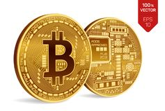 Bitcoin moneta fisica isometrica del pezzo 3D Valuta di Digital Cryptocurrency Due monete dorate con bitcoin Illustrazione di vet Fotografie Stock Libere da Diritti
