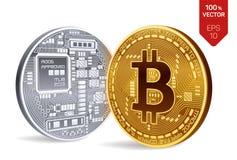 Bitcoin moneta fisica isometrica del pezzo 3D Valuta di Digital Cryptocurrency Monete dorate e d'argento del bitcoin Fotografie Stock