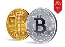 Bitcoin moneta fisica isometrica del pezzo 3D Valuta di Digital Cryptocurrency Monete dorate e d'argento con bitcoin Immagine Stock Libera da Diritti