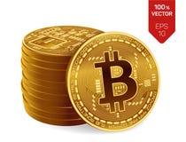 Bitcoin moneta fisica isometrica del pezzo 3D Valuta di Digital Cryptocurrency Pila di Bitcoins dorato Immagini Stock Libere da Diritti