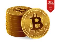 Bitcoin moneta fisica isometrica del pezzo 3D Valuta di Digital Cryptocurrency Pila di monete dorate con il simbolo del bitcoin Immagini Stock
