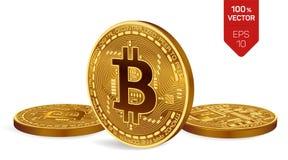 Bitcoin moneta fisica isometrica del pezzo 3D Valuta di Digital Cryptocurrency Tre monete dorate del bitcoin Illustrazione di ris Fotografia Stock Libera da Diritti
