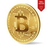 Bitcoin moneta fisica isometrica del pezzo 3D Valuta di Digital Bitcoin dorato isolato su fondo bianco Illustrazione di riserva d Immagine Stock